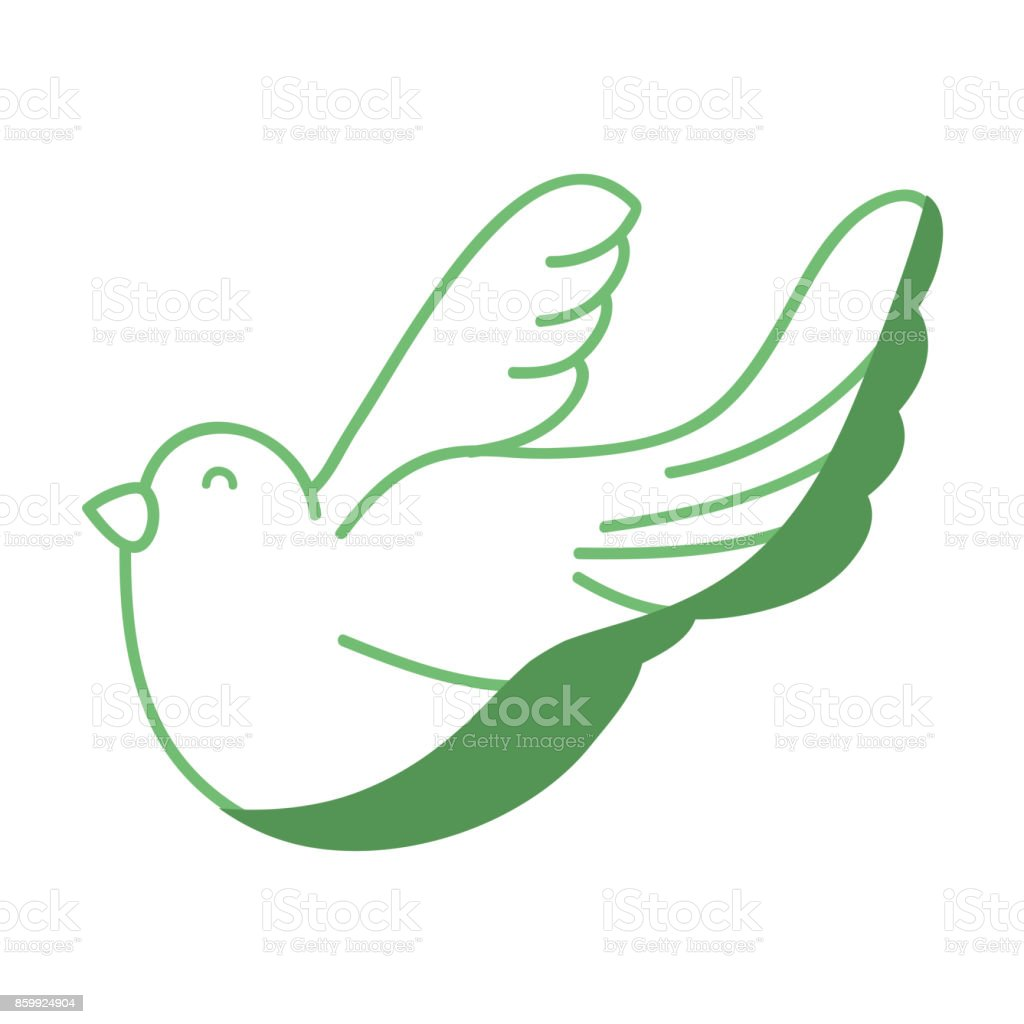 Silhouette Cute Dove Animal Peace Symbol Stock Illustration