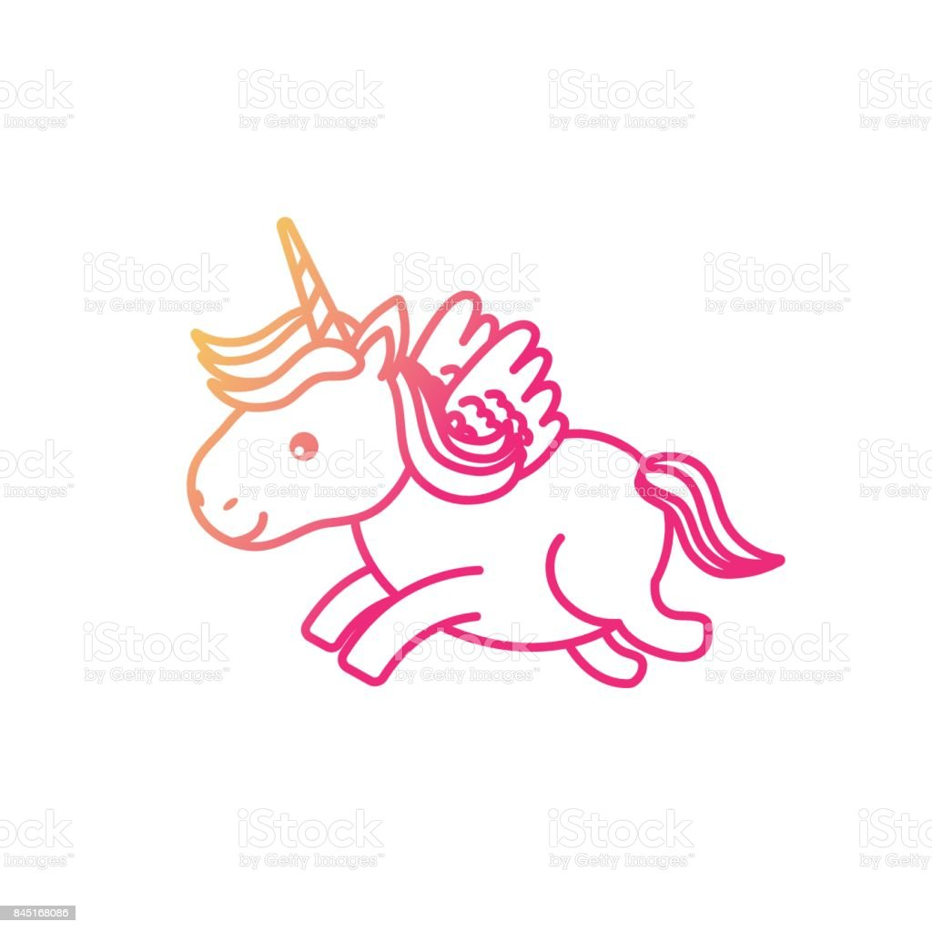 silhouette cute unicorn with horn and wings design stock