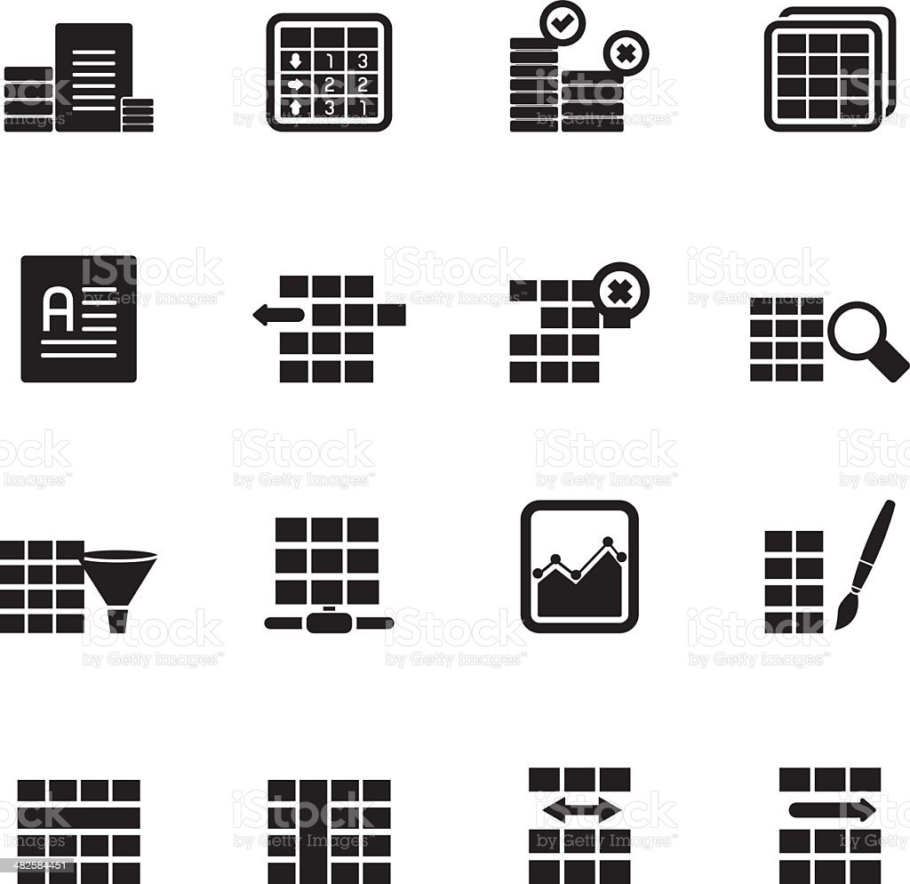 silhouette database and table formatting icons stock vector art