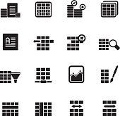 Silhouette Database and Table Formatting Icons