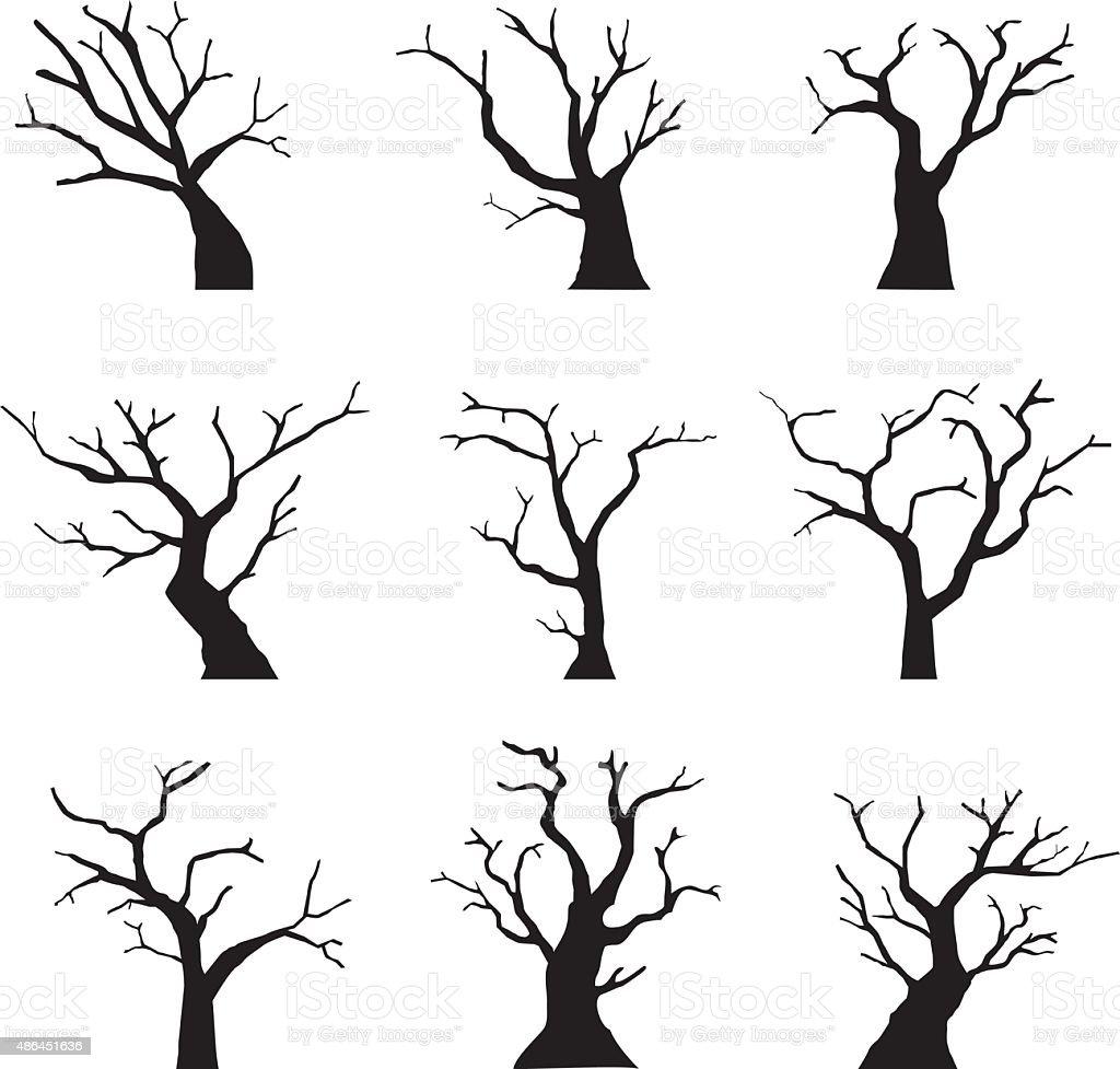 Family Tree Wall Mural Toter Baum Silhouette Stock Vektor Art Und Mehr Bilder Von