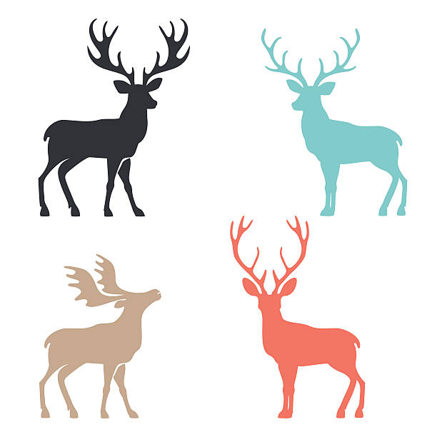 silhouette deer with great antler animal vector illustration - reindeer stock illustrations