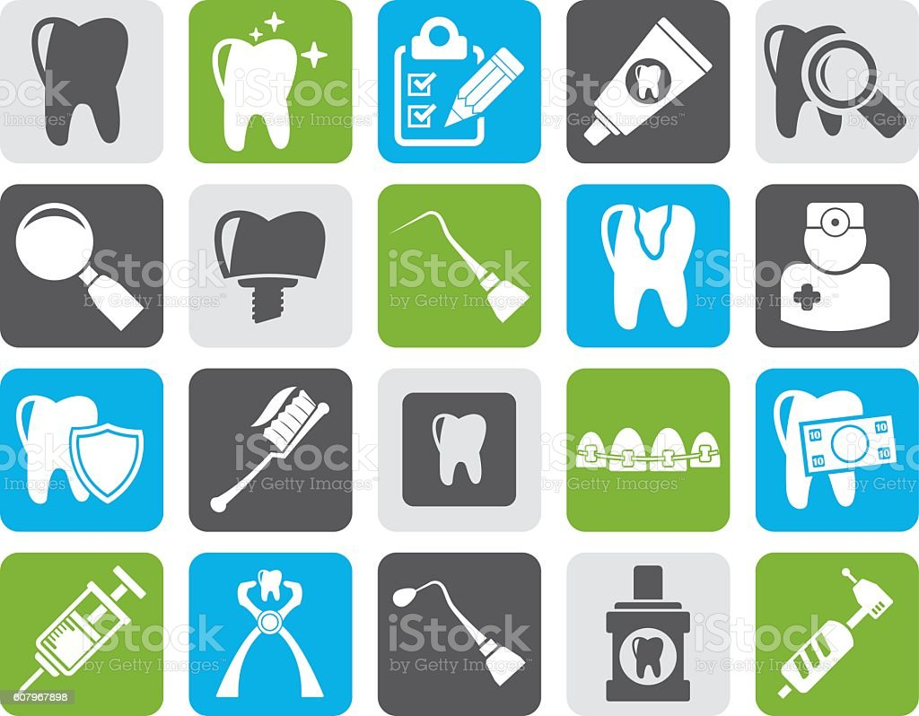 Silhouette dental medicine and tools icons vector art illustration