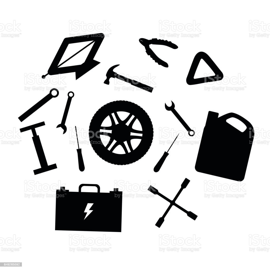 Silhouette design elements of car service and diagnostic auto silhouette design elements of car service and diagnostic auto mechanic repair of machines mechanic biocorpaavc Gallery