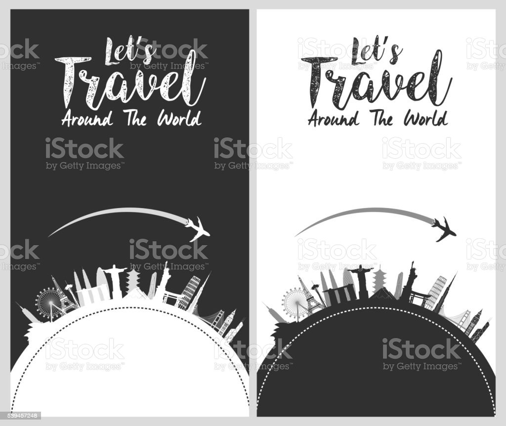 Silhouette design with famous world and landmarks icons ベクターアートイラスト