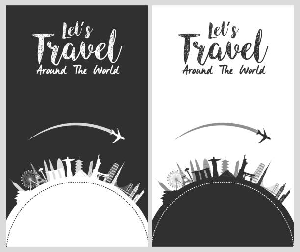 Silhouette design with famous world and landmarks icons vector art illustration