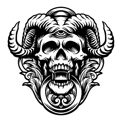 """Silhouette Devil Skull Horn Clipart Graphic illustrations for your work Logo, mascot merchandise t-shirt, stickers and Label designs, poster, greeting cards advertising business company or brands.""""n"""