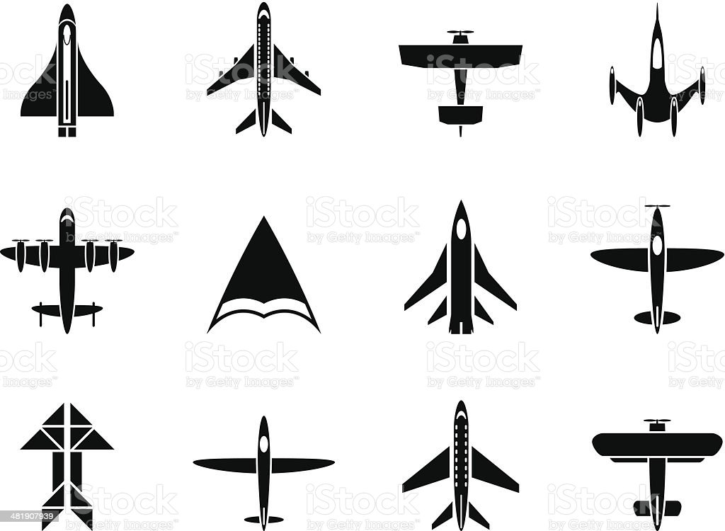 Silhouette different types of plane icons vector art illustration
