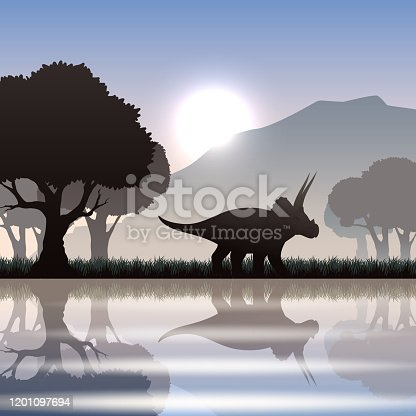 Triceratops dinosaur silhouette in scenic landscape with lake mountain and giant trees vector illustration