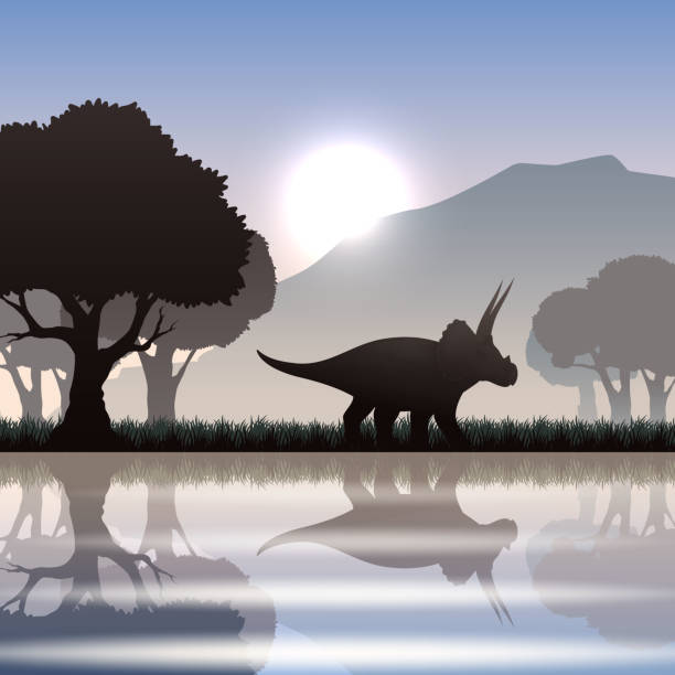 silhouette dinosaur in landscape Triceratops dinosaur silhouette in scenic landscape with lake mountain and giant trees vector illustration vertebrate stock illustrations