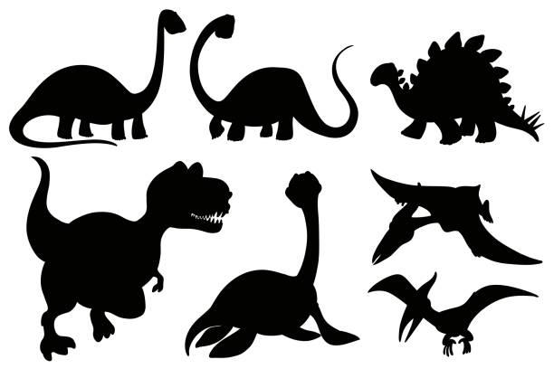 silhouette dinosaurier auf weißem hintergrund - eiszeit stock-grafiken, -clipart, -cartoons und -symbole