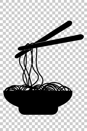 剪影 塗鴉麵條在碗和筷子在透明效果背景下向量圖形及更多亞洲圖片