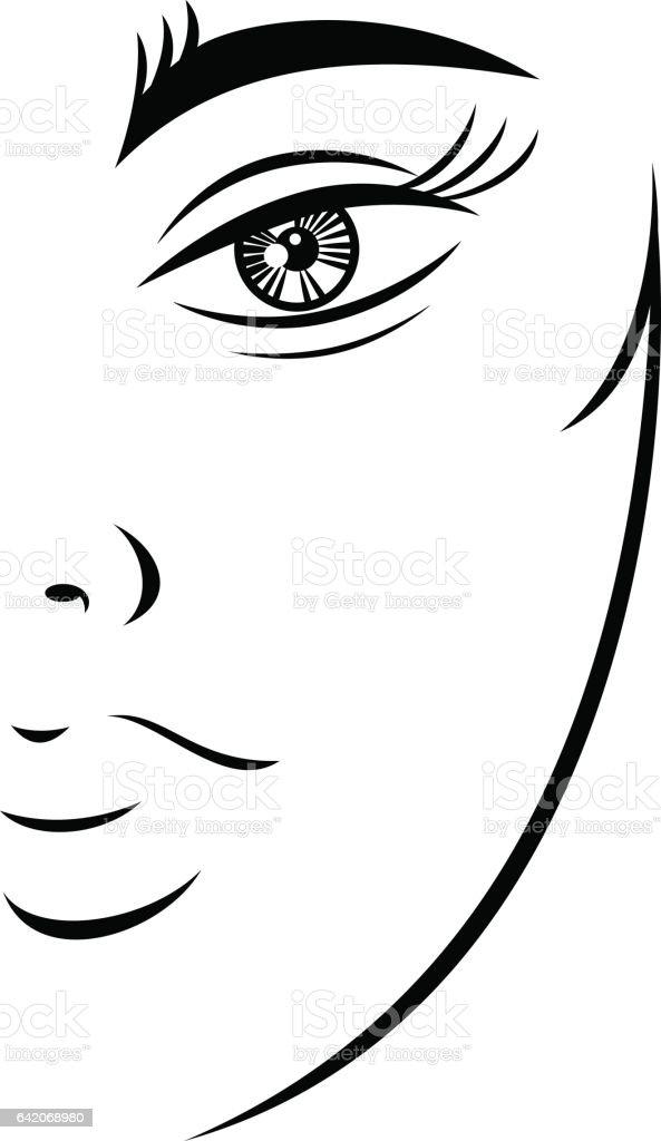 Vetores De Rosto De Adolescente Feminino Desenho Silhueta E Mais