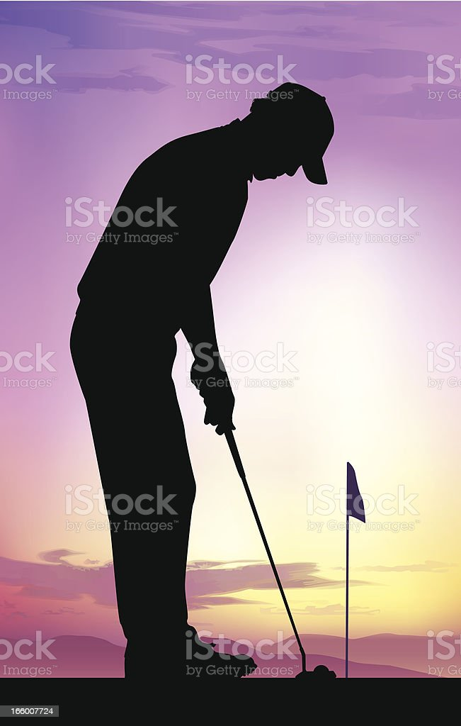 Silhouette drawing of a golfer putting at dusk royalty-free silhouette drawing of a golfer putting at dusk stock vector art & more images of activity