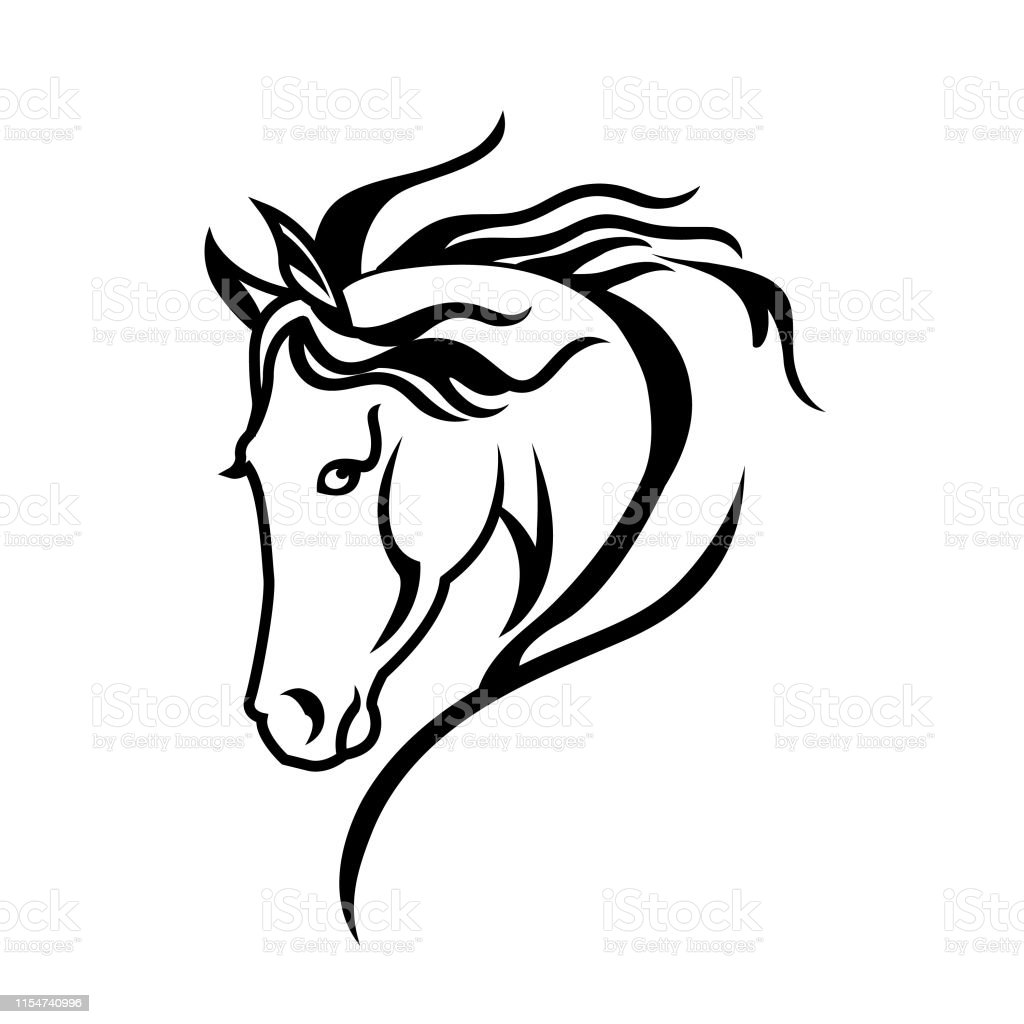 A Silhouette Drawing Of A Horse Head Stock Illustration Download Image Now Istock