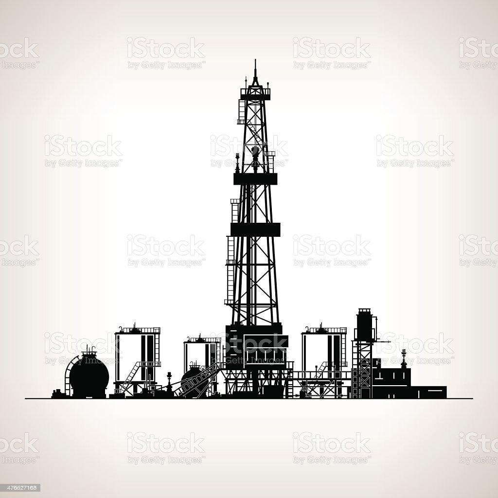 Silhouette Drilling Rig vector art illustration