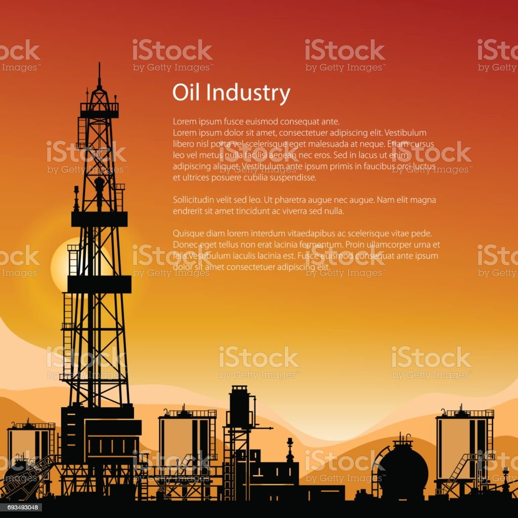 Silhouette Drilling Rigs and Text vector art illustration