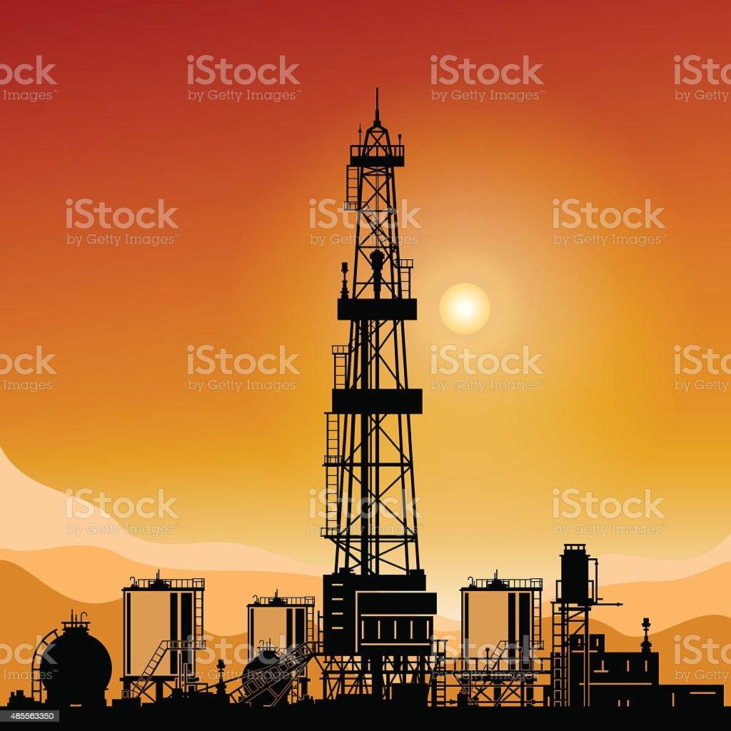 Silhouette Drilling Rigs vector art illustration