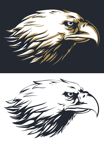 Silhouette eagle head sideview isolated vector logo mascot badge on black and white style