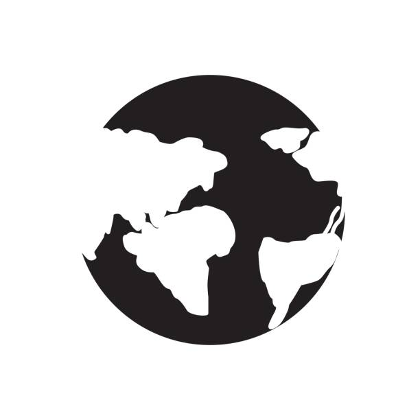 silhouette earth planet with global geographys continents vector art illustration
