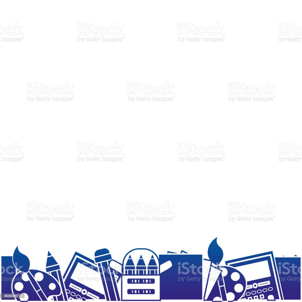 Silhouette Education School Tools Background Design Stock ...