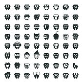 Silhouette Emoticons 64 icons Vector EPS File.
