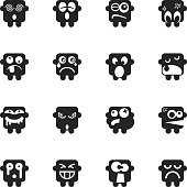Silhouette Emoticons Vector File Set 8.