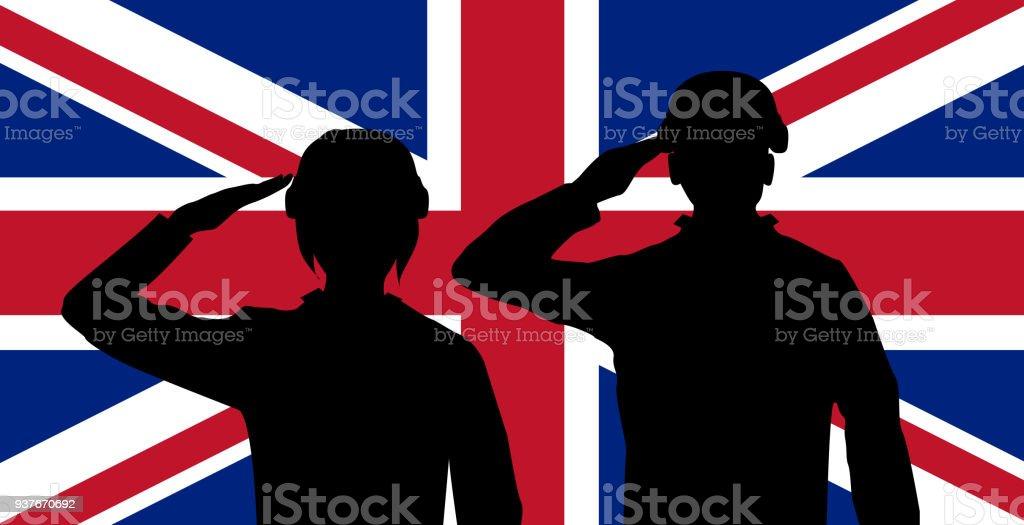 silhouette England soldier on united kingdom flag vector art illustration