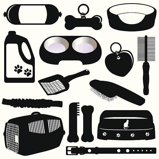 silhouette (vektor-icons): ausstattung für haustiere (katzen und hunde - hundebetten stock-grafiken, -clipart, -cartoons und -symbole