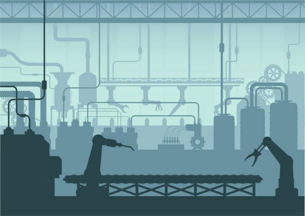 ilustraciones, imágenes clip art, dibujos animados e iconos de stock de el interior de la fábrica silhouette - manufacturing