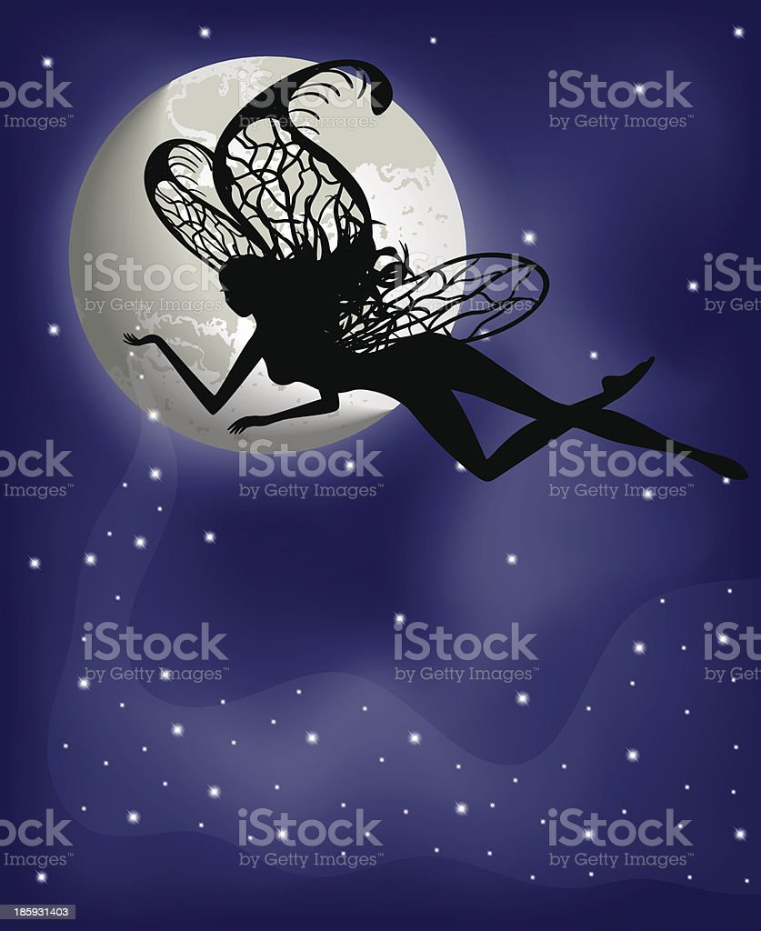 Silhouette fairy girl on background with moon royalty-free stock vector art