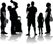 A vector silhouette illustration of two families socializing with their children.  A plus size mother and father stand by a stroller as mom holds up her baby over her head.  A young couple stands with their daughter with dad holds their toddler in his arms.