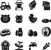 Silhouette Farm icons set