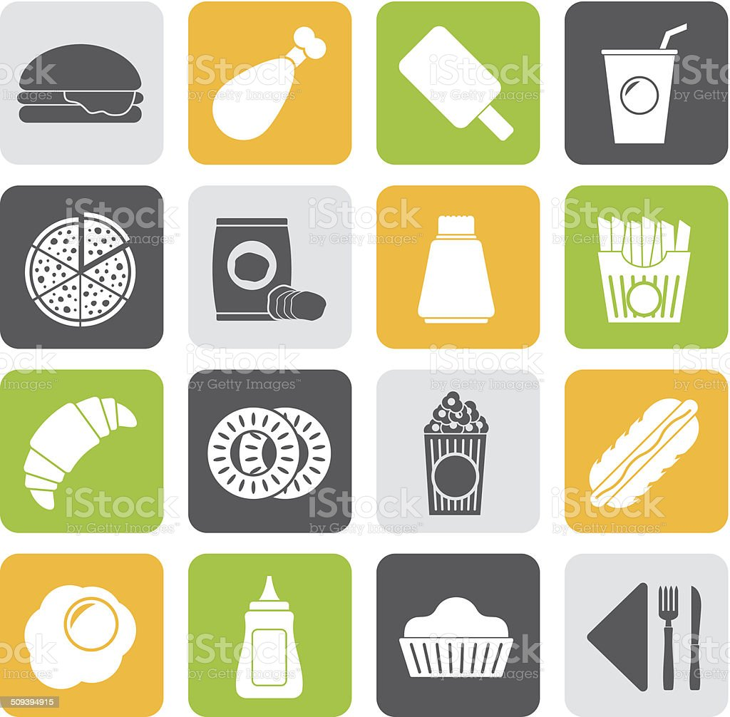 Silhouette fast food and drink icons vector art illustration