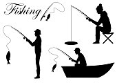 Vector illustration of a silhouette fisherman icon, man cath fish on fishing rod