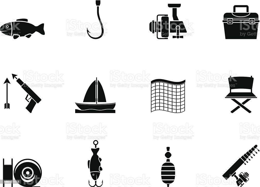 Silhouette Fishing and holiday icons vector art illustration