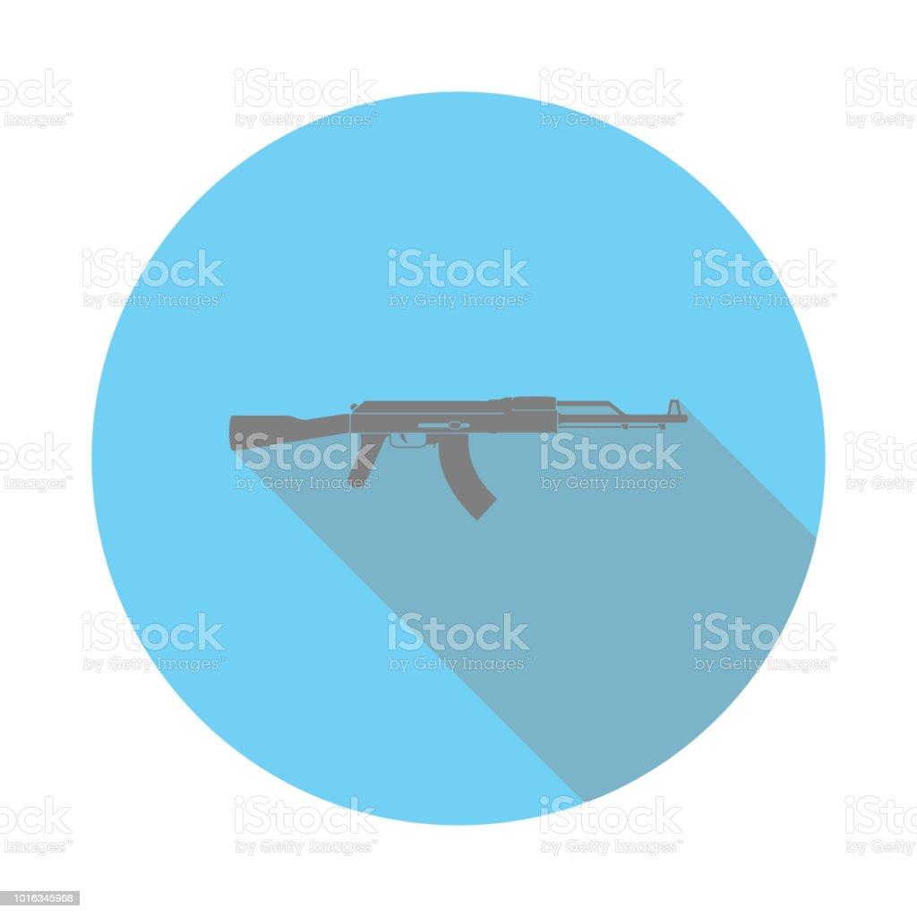 AK47 シルエット フラット アイコン。軍隊の記号。ノート、カレンダー、web 標識アイコン。アプリのアイコンや web サイトのアイコンをダウンロードします。 ベクターアートイラスト