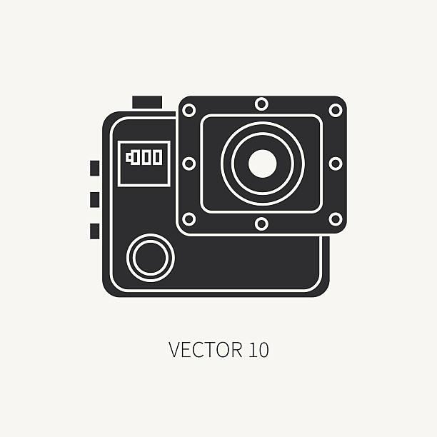 stockillustraties, clipart, cartoons en iconen met silhouette flat vector icon with digital action camera. photography. megapixel. - gopro