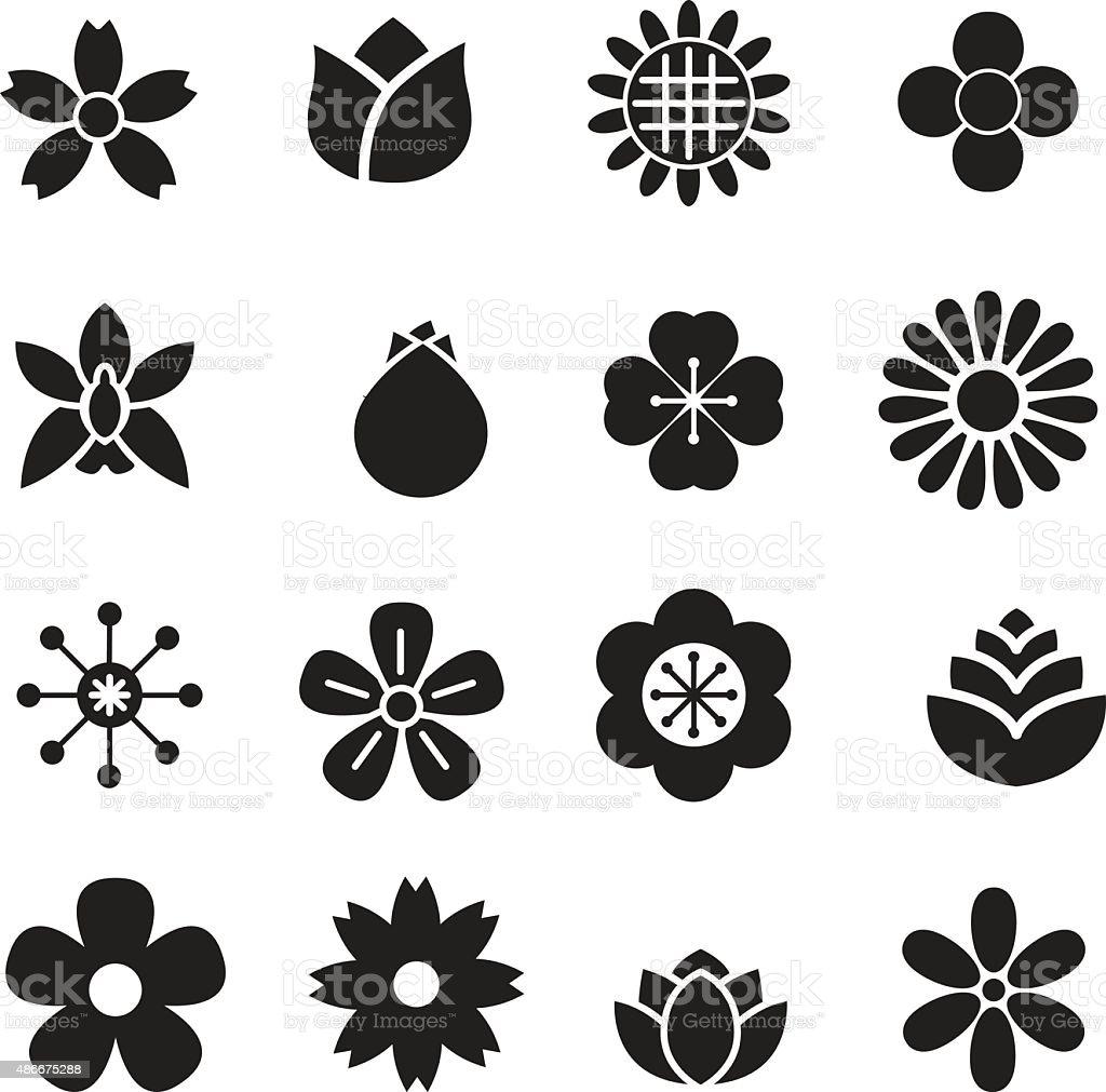 silhouette Flower icons vector art illustration