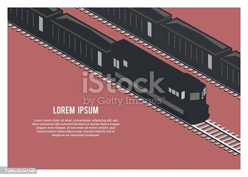 simple illustration of freight train carrying ore/coal in isometric view