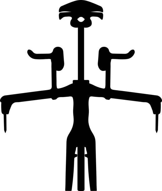 Silhouette front view time trial road bike, vector vector art illustration