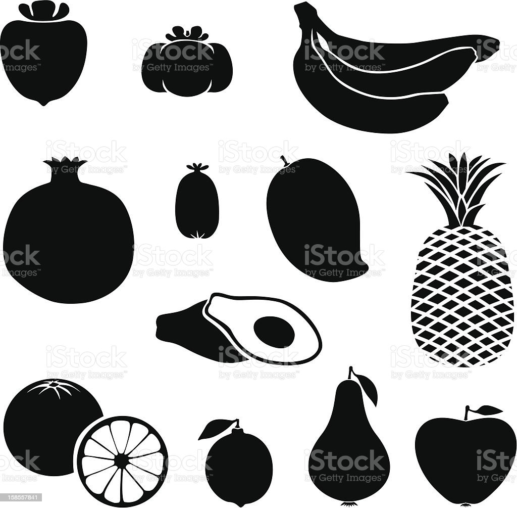 실루엣 과일 royalty-free 실루엣 과일 감에 대한 스톡 벡터 아트 및 기타 이미지