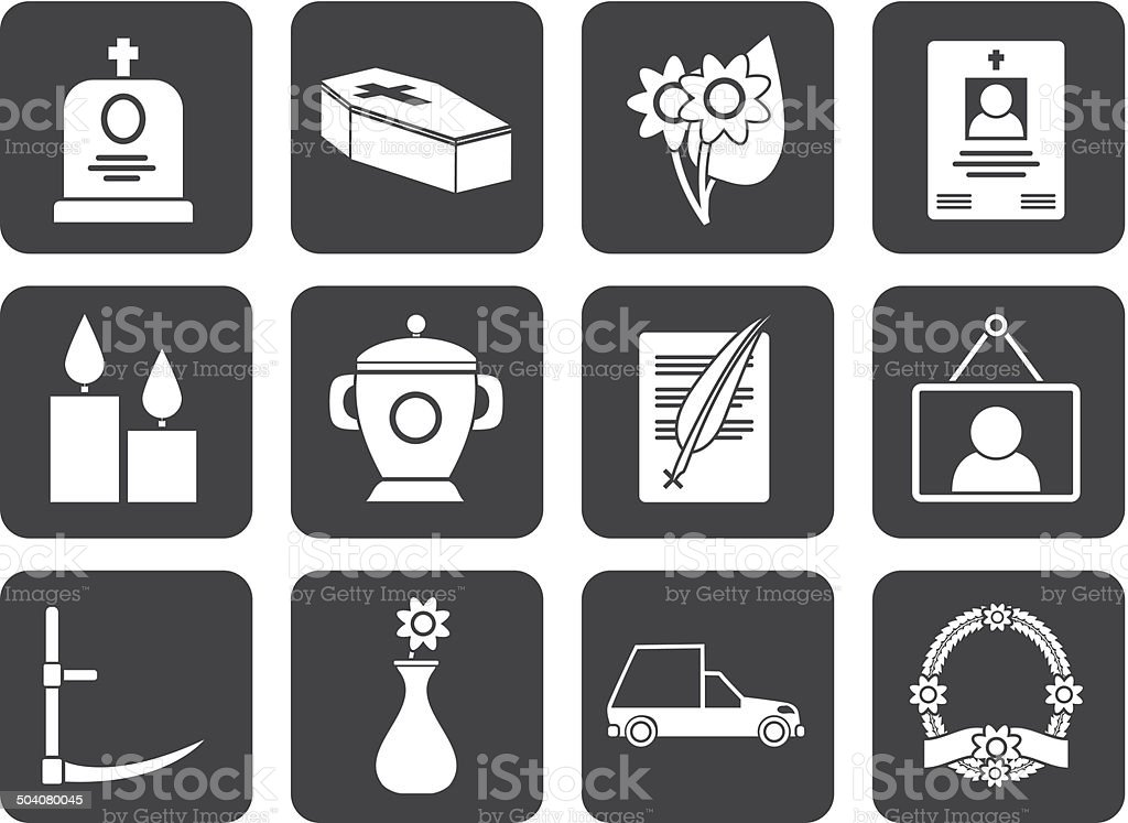 Silhouette funeral and burial icons royalty-free silhouette funeral and burial icons stock vector art & more images of ark