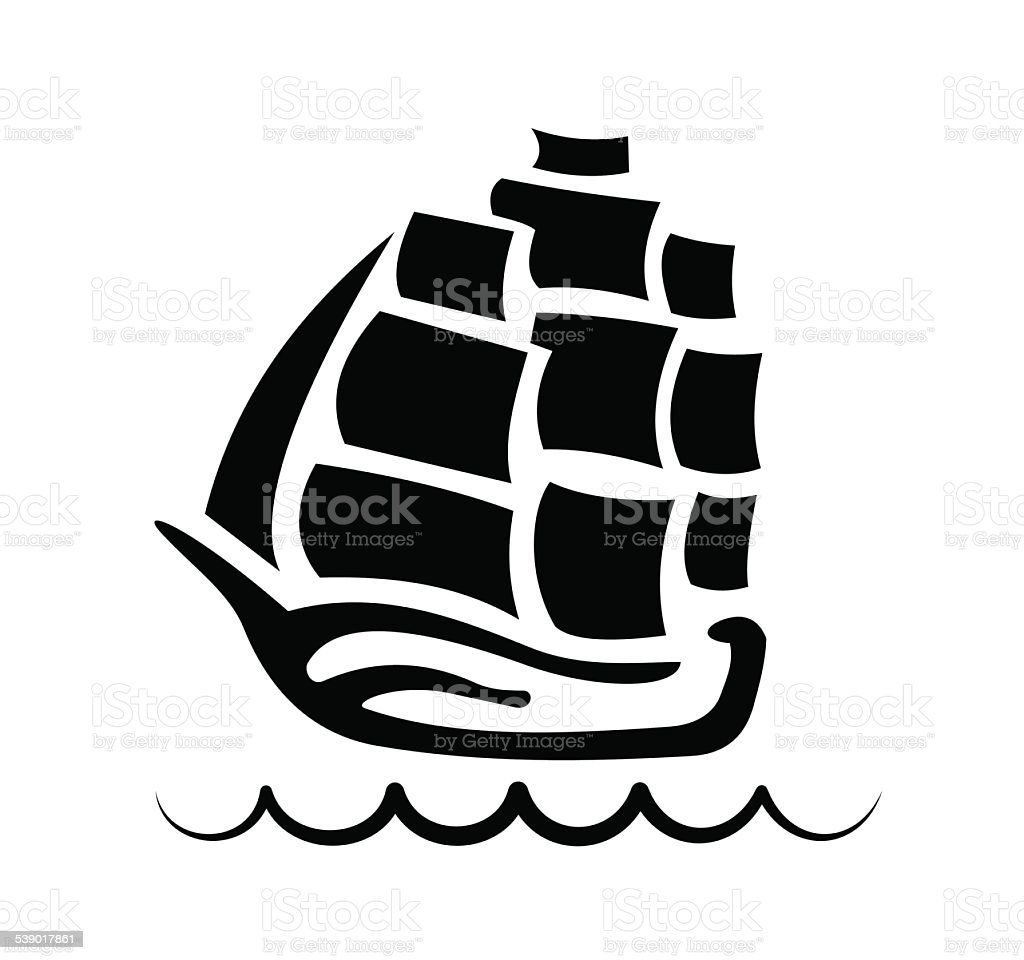silhouette Galleon in the sea vector art illustration