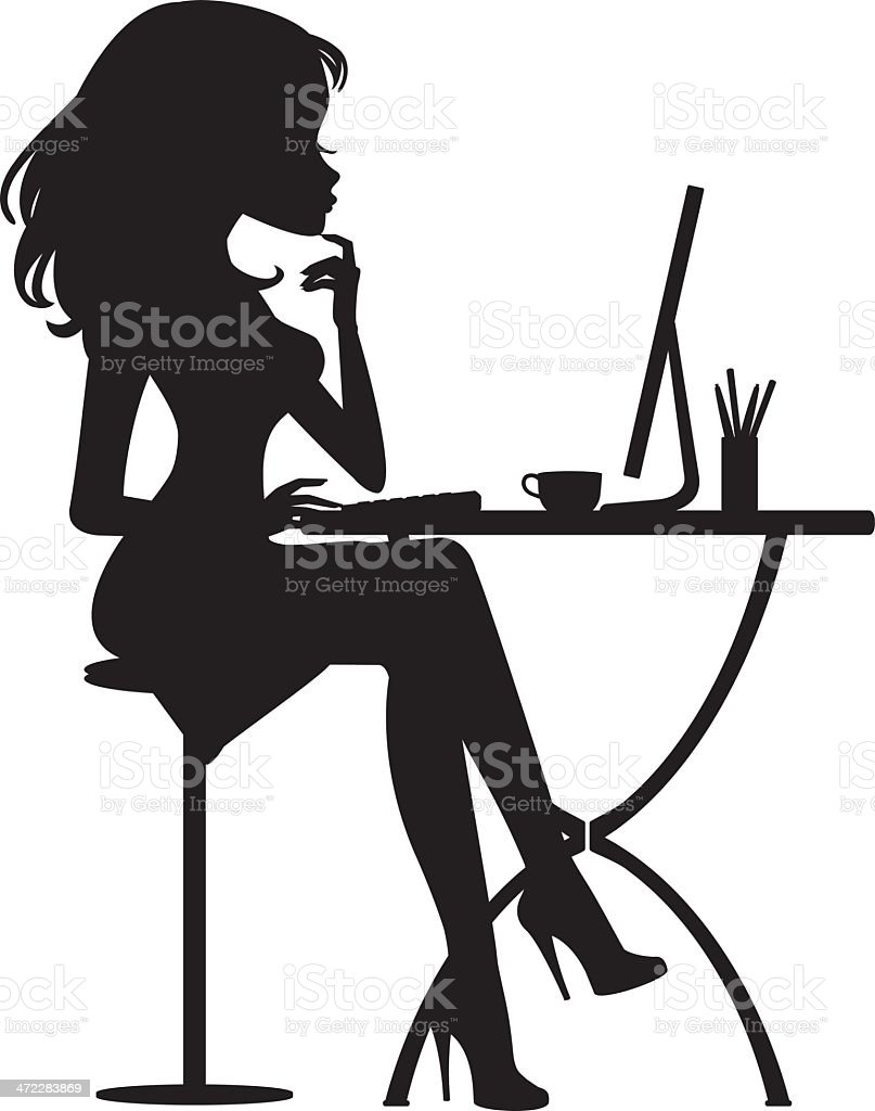 silhouette girl online stock vector art amp more images of