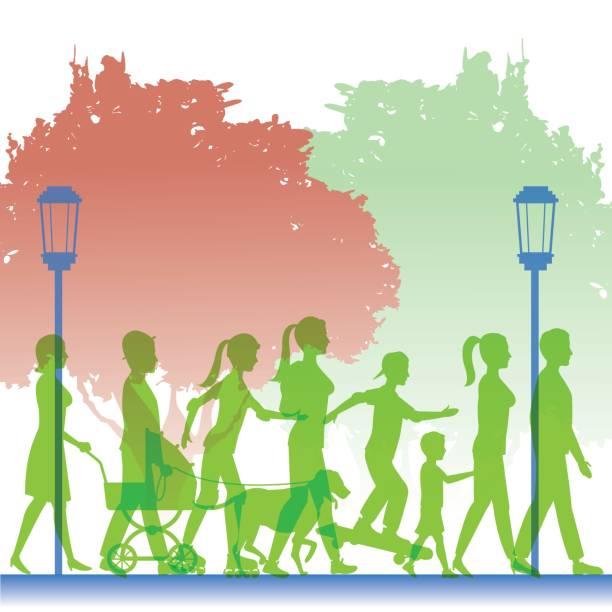 illustrazioni stock, clip art, cartoni animati e icone di tendenza di silhouette green color people walking in street - city walking background