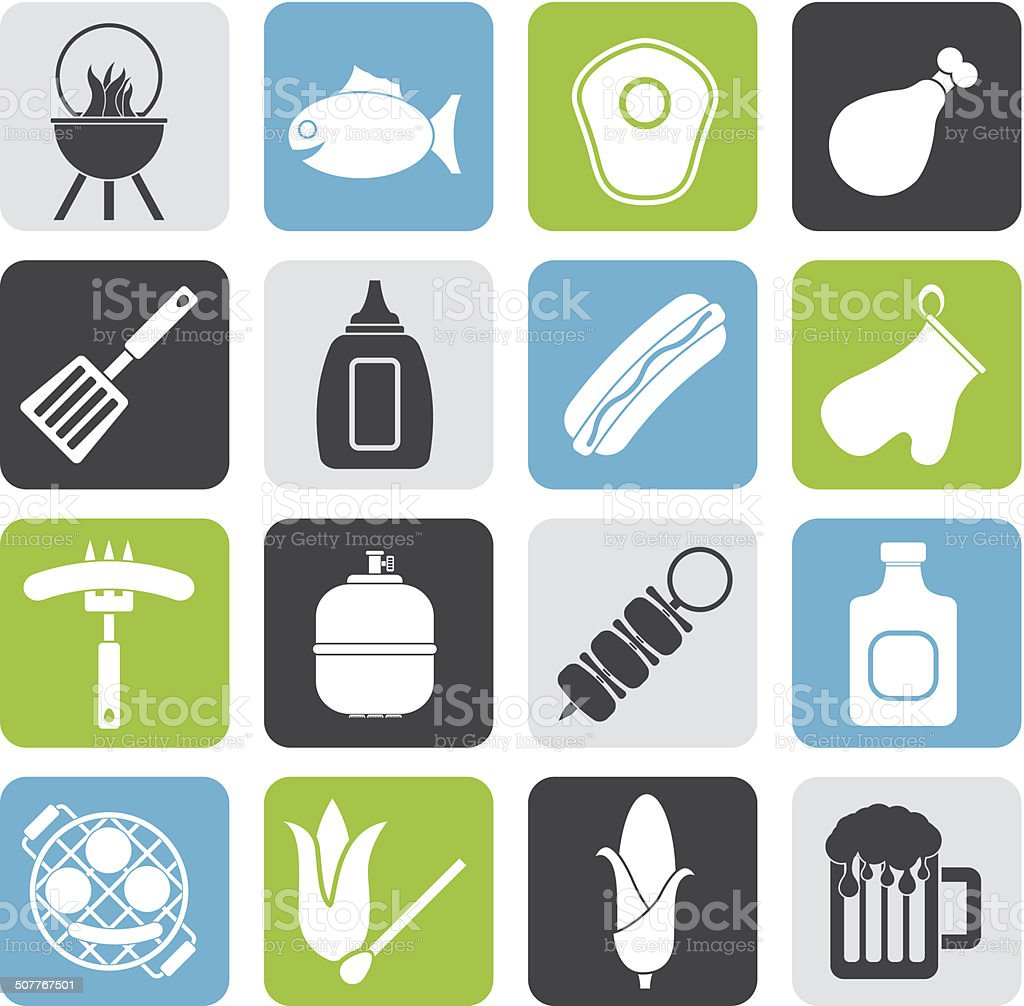 Silhouette Grilling and barbecue icons royalty-free silhouette grilling and barbecue icons stock vector art & more images of backgrounds