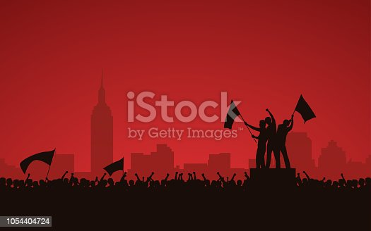 Silhouette group of people raised fist and flags protest in city with red color sky background