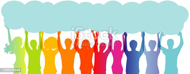 Silhouette group of people with arms raised holding up a long speech bubble copy space.Concept of solidarity friendship and charity.Care cooperation help and assistance to people