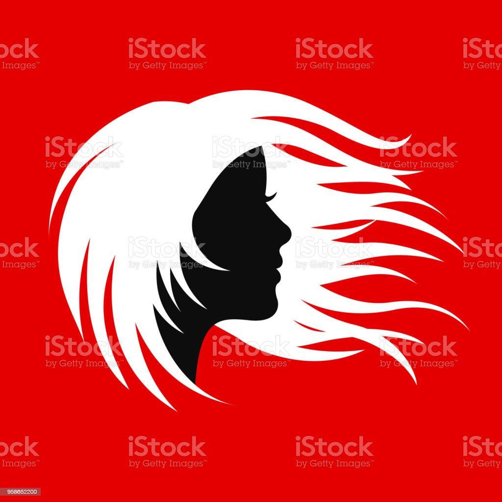Silhouette Haar Mädchen Salonlogo Für Lager Stock Vektor Art und ...